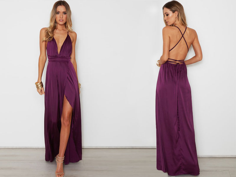 f6fd9001310 Dark Purple Lace-Up Back Maxi Dress Featuring Plunge V Neckline and High  Slit