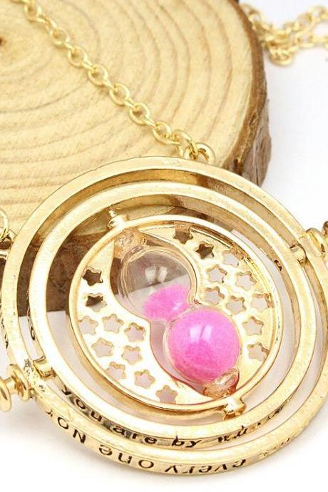 Luxury GOLD Plated Potter Hermione Time Turner Converter Pendant Necklace