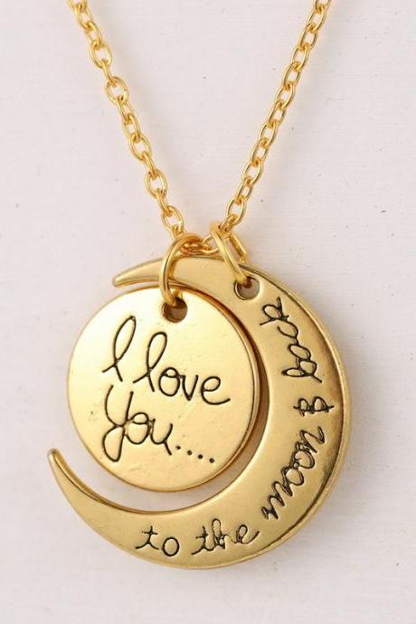 Moon and Son I LOVE YOU Pendant Chain Necklace