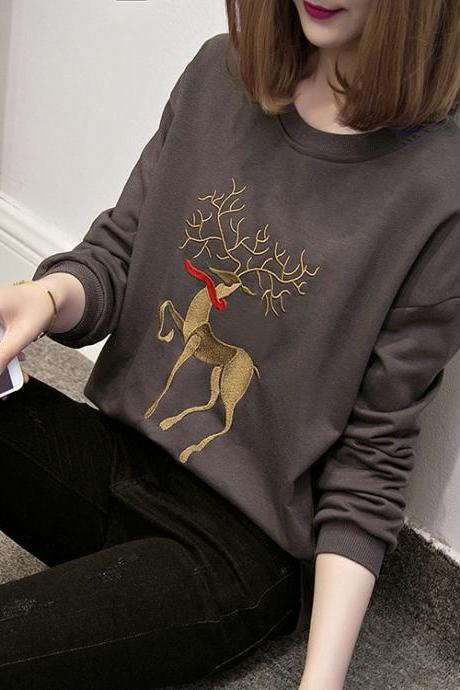 Cotton sika deer embroidery sweater