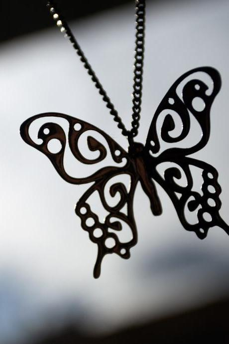 Swallowtail Butterfly Pendant || Butterfly necklace of albata || Pendant 'Papilio machaon' on a chain