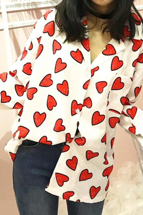 White or Black Casual Button Down Heart Print Collar Casual Top with Long Sleeves