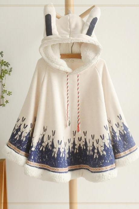 Rabbit ears hooded fleece cape coat