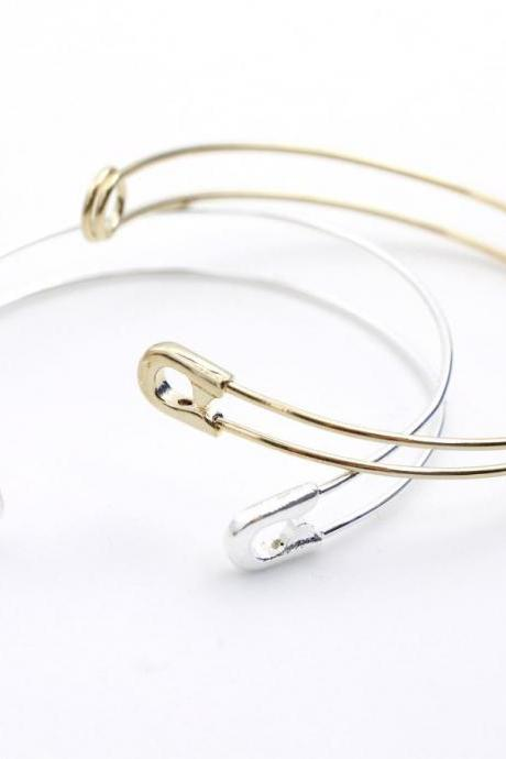gold sliver safety pin bangle bracelet