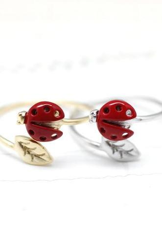 LadyBug and tiny leaf ring in red - Adjustable Ring