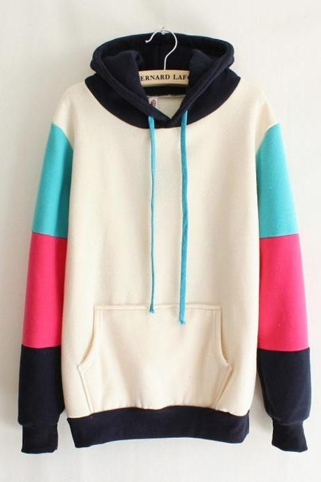 Mixed Colors Hooded Sweater