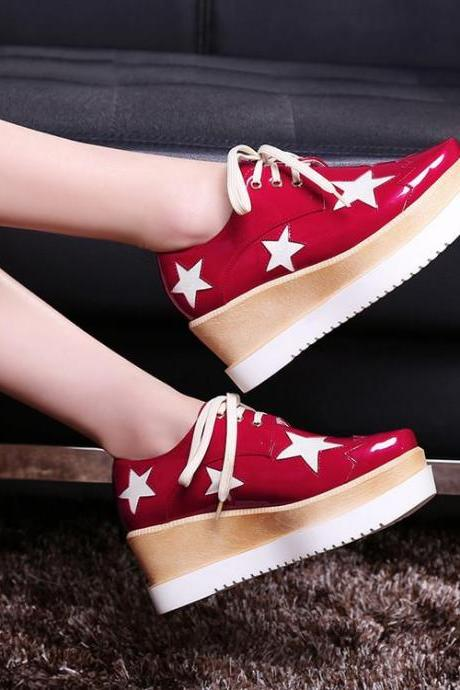 Women's Square Toe Lace Loop Colour Matching Platform Skate Shoes