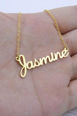 Gold Personalized Custom Made Name Statement Necklace in Cursive