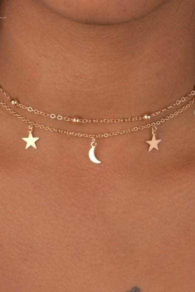 Star and Moon Double Layered Dainty Choker Necklace in Silver or Gold, Jewelry