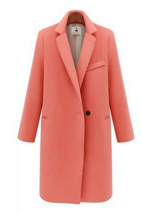 Long Slim Trench Coat Jacket Overcoat Outwear