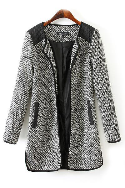 Cheap New Style O Neck Long Sleeves Side Splits Single-breasted Patchwork Grey Long Trench Coat