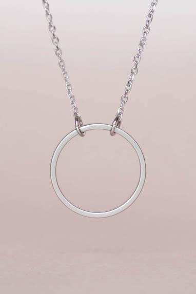 Silver Hoop Necklace,Geometric Halo Circle Necklace, Minimalist, Zen, Eternity Circle
