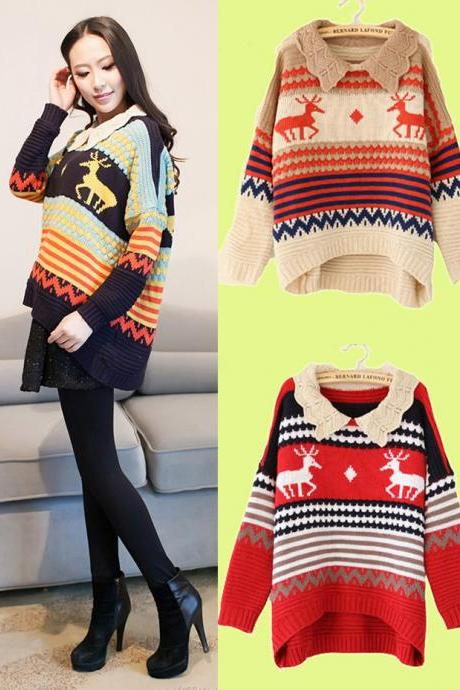 Deer & Stripes Lovely Collar Irregular Curved Hem Sweater
