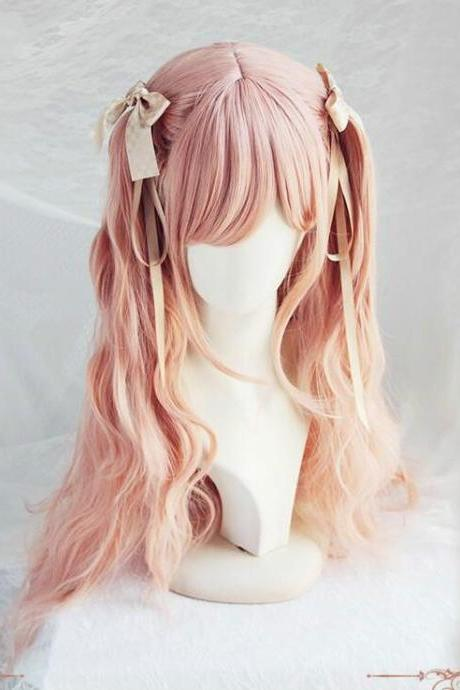FREE SHIPPING Princess Pastel Pink Long Wig