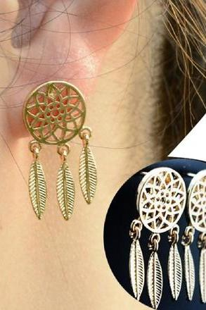 New Gold Bohemia Nationality Indian Feather Dream Catcher Dreamcatcher Stud