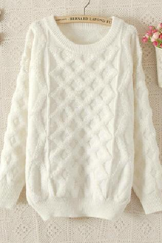 Cable Knit Crew Neck Long Cuffed Sleeves Sweater