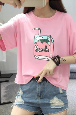Peach Carton Crew Neck Half Sleeves Graphic Tee, T-Shirt