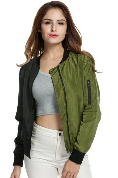 Dual Tone Bomber Jacket with Zipper Detailing - Red, Grey, Green