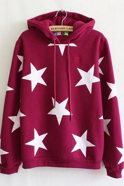 Cute Lovely Star Loose Fleece Hoodie sweater