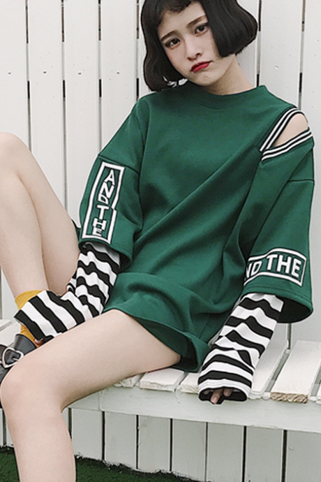 Striped Fake Two Piece hoodie Sweatshirt