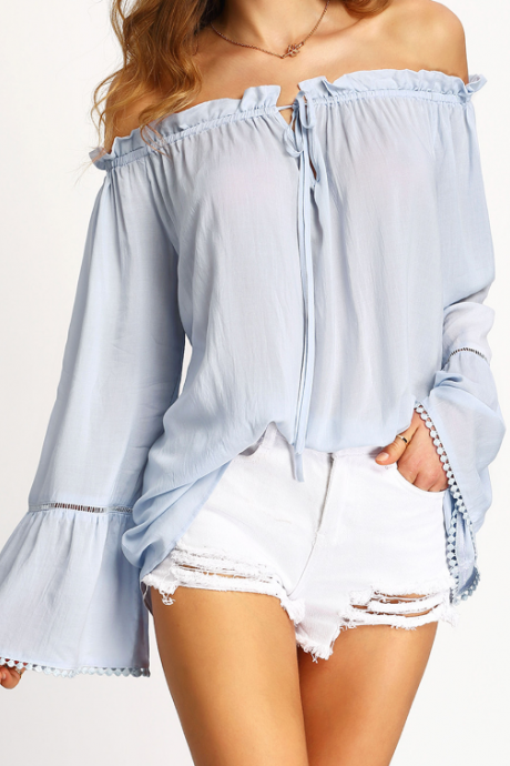 Light Blue Off-The-Shoulder Flared Sleeves Blouse