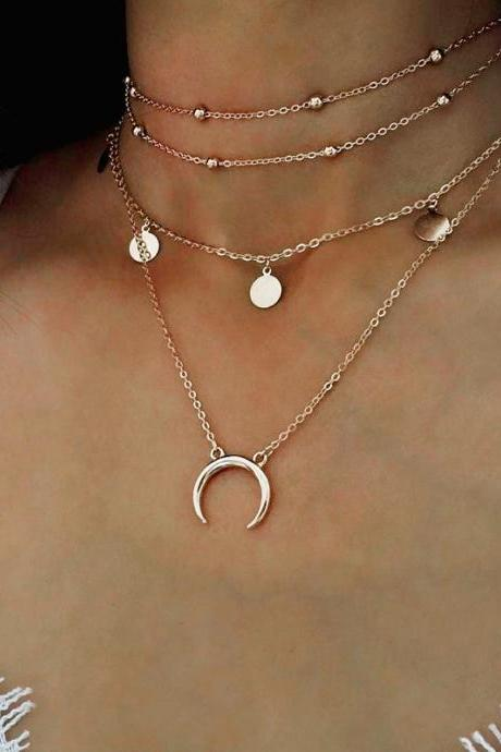 necklace,Collarbone chain Wafer moon necklace