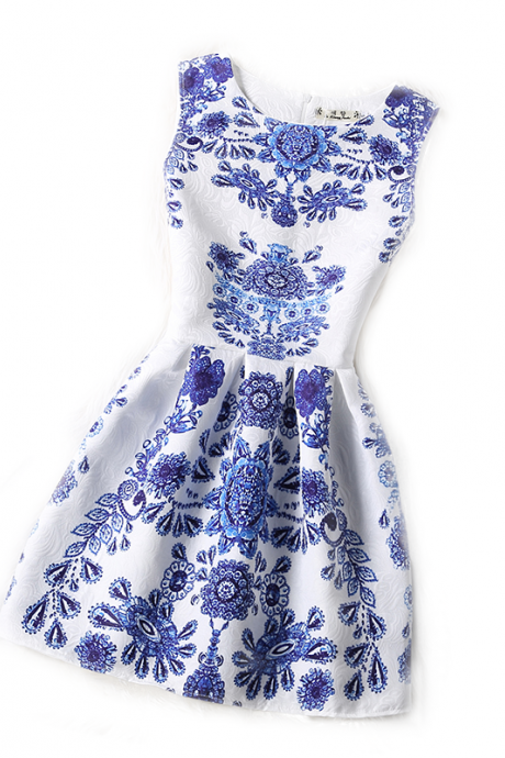 Sexy Blue And White Porcelain Sleeveless Dress