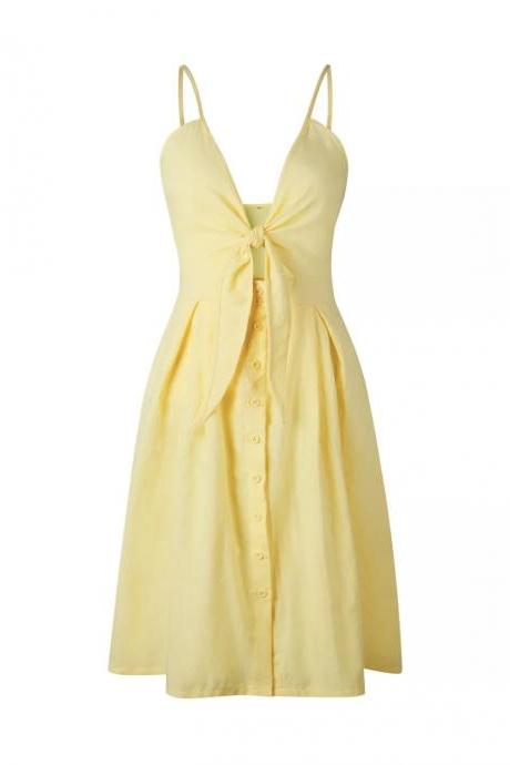 Yellow Tie-Front Accent Plunge V Spaghetti Straps Button Down Midi Dress