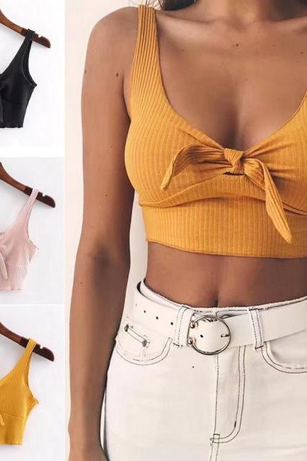Ribbed Knit Tie-Front Plunge V Sleeveless Crop Top