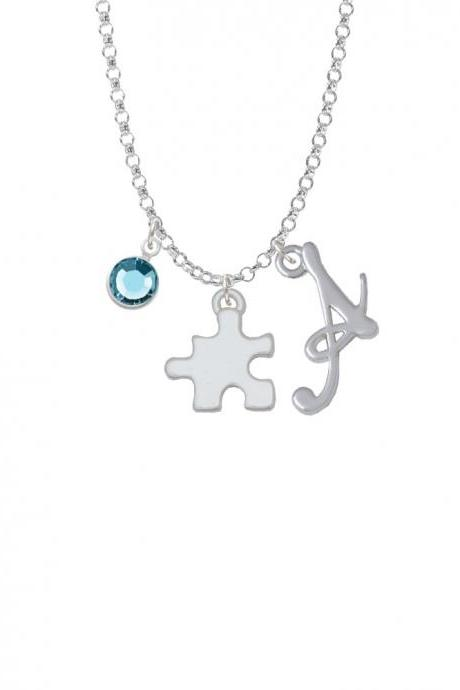 Puzzle Piece Charm Necklace with Gelato Initial and Crystal Drop