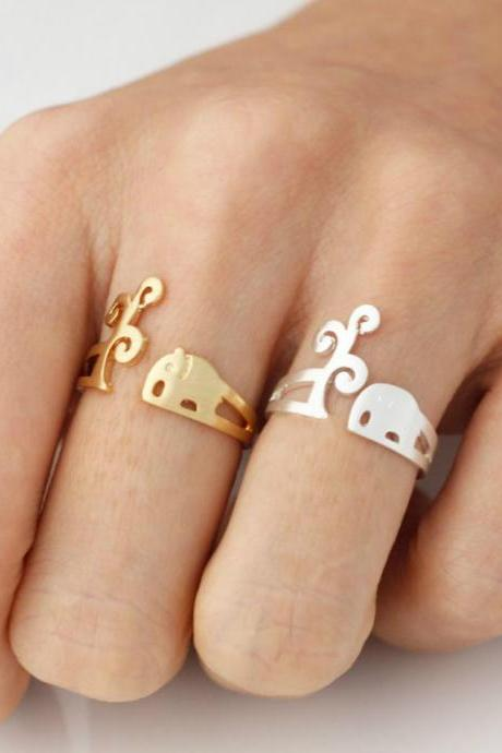 Tree and Elephant adjustable ring in silver/ gold