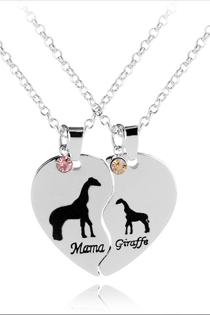 Mama Giraffe love heart giraffe necklace