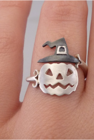Halloween Pumpkin hat ghost ring