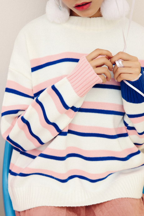 Harajuku Striped Knitted Sweater
