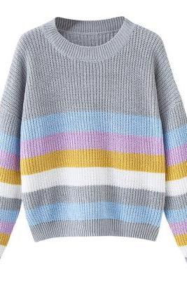 Round Collar Long Sleeve Colorful Stripe Women Pullover Sweater
