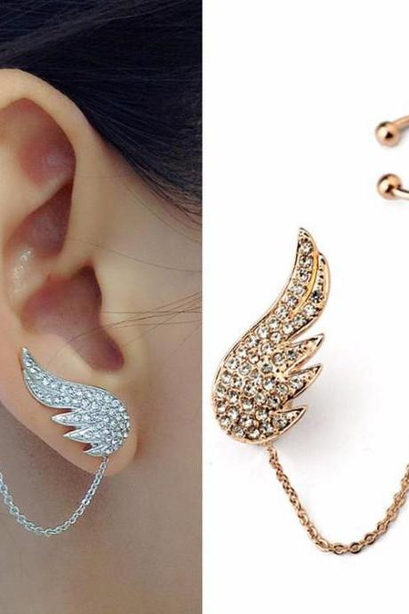 Angel Wings Cuff Earrings in Gold and Silver