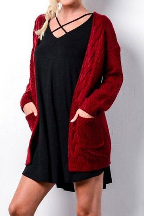 Red color Autumn Winter Long Sleeve Loose Casual Sweater Coat Cardigan Coat Women Outwear