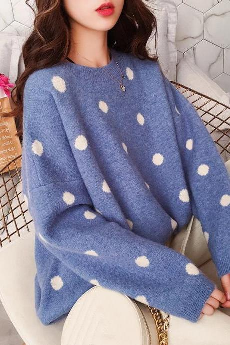 Korea style dot print loose warm sweater