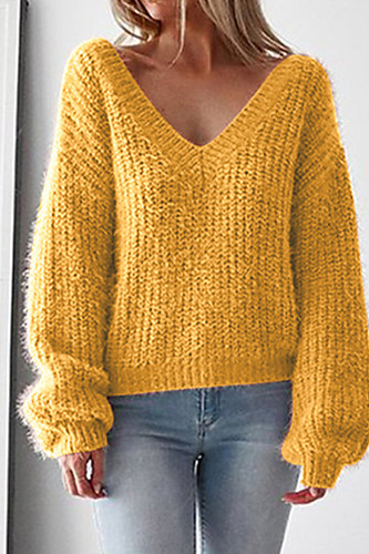 Solid Colored Women's Basic Pullover sweater
