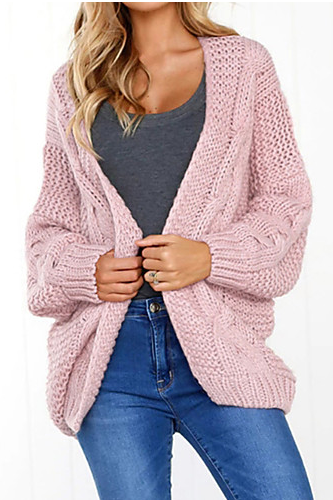 Women's Solid Colored Basic sweater Cardigan
