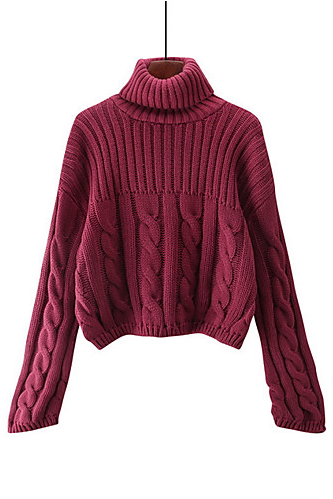 women's solid colored turtleneck weekend long sleeve pullover