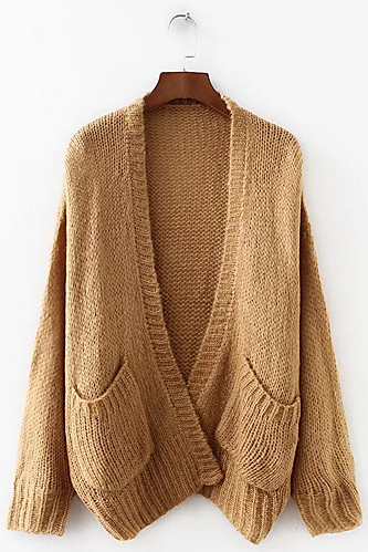 Women's Street Solid Colored chic Cardigan