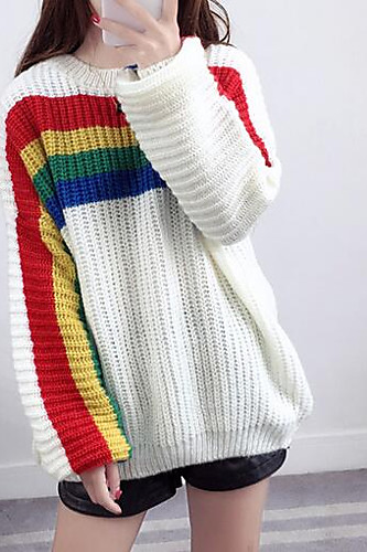 Women's striped Basic Pullover sweater
