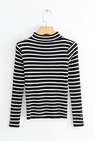 Women's Solid Colored Striped Basic Pullover sweater