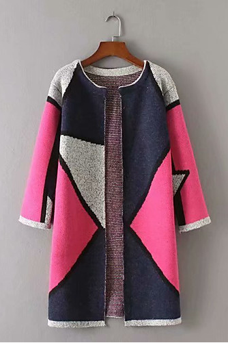 women's color block v neck long sleeve cardigan coat