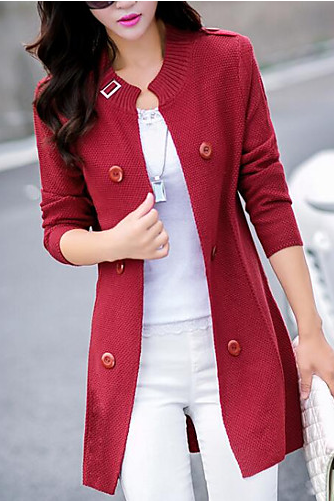 Women's Solid Colored Long Sleeve Slim Cardigan