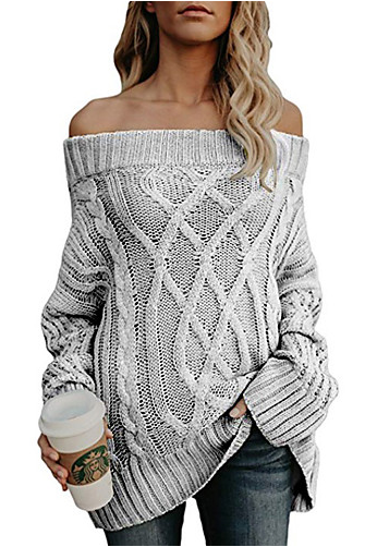 Women's Solid Colored Plus Size Basic Long Sleeve Off Shoulder / Twisted Off Shoulder Cotton Pullover sweater