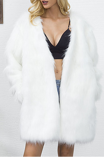 Women's Solid Colored V Neck Long Plus Size Faux Fur Coat