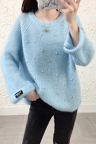 Women's Solid Colored Long Sleeve Cotton Loose Pullover sweater