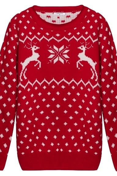 Red / Black color Knitted Long Sleeve Ribbed Christmas Reindeer Sweater